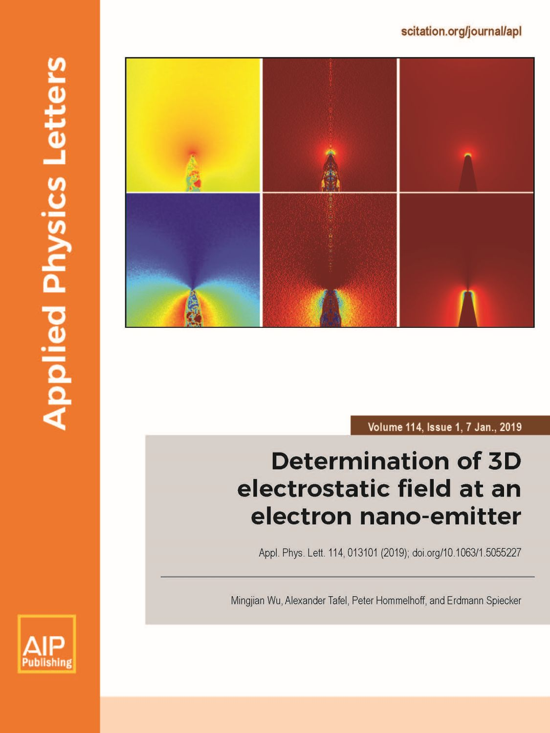 "Towards entry ""3D electrostatic field measurement at an electron nano-emitter on the front cover of Applied Physics Letters"""